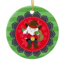 Personalized Cowboy Santa Western Ornament
