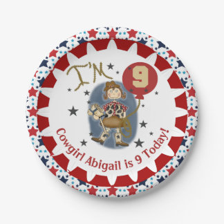 Personalized Cowgirl 9th Birthday Paper Plates