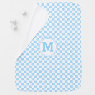 Personalized Cozy Baby Blue Check Pattern Monogram Receiving Blanket