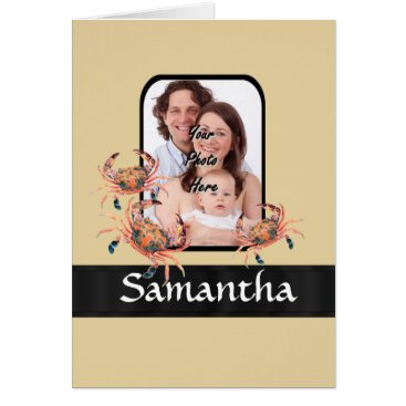 Beach Themed Personalized crab card