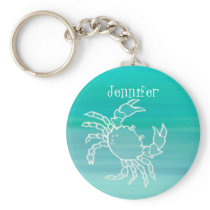 Personalized Crab in an aquamarine colored ocean Keychain