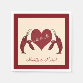 Personalized Crawfish Lobsters With Heart Napkin
