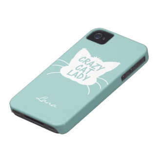 Personalized Crazy Cat Lady in Wavecrest blue iPhone 4 Cover