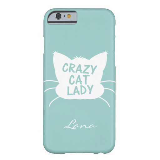 Personalized Crazy Cat Lady in Wavecrest blue iPhone 6 Case