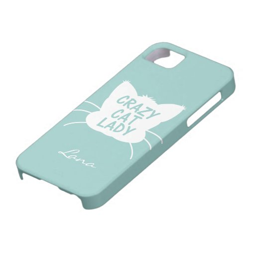 Personalized Crazy Cat Lady in Wavecrest blue iPhone 5 Case