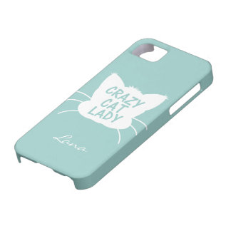 Personalized Crazy Cat Lady in Wavecrest blue iPhone 5 Cases