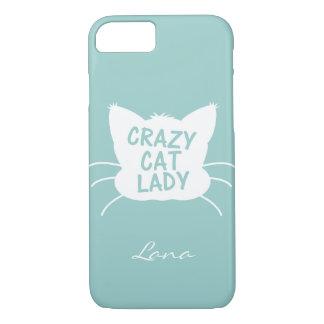 Personalized Crazy Cat Lady in Wavecrest blue iPhone 7 Case