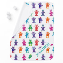 Personalized Crazy Colorful Robot Pattern Baby Stroller Blanket