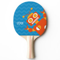 Personalized Crazy Fun Orange Robot Blue Chevron Ping Pong Paddle