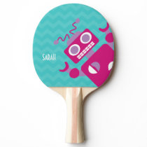 Personalized Crazy Fun Pink Robot Teal Chevron Ping Pong Paddle
