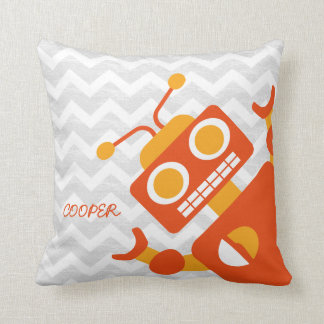 Personalized Crazy Orange Robot Gray Chevron Throw Pillow