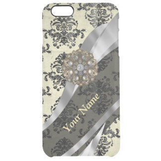 Personalized cream and black damask uncommon clearly™ deflector iPhone 6 plus case