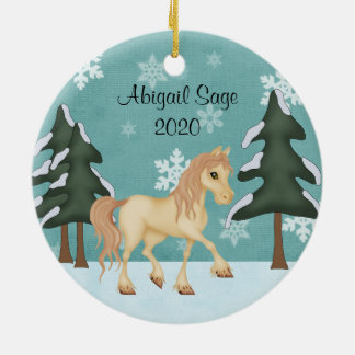 Personalized Cream Horse ~ Winter Forest Christmas Ceramic Ornament