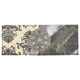 Personalized cream pretty girly damask pattern tyvek® billfold wallet