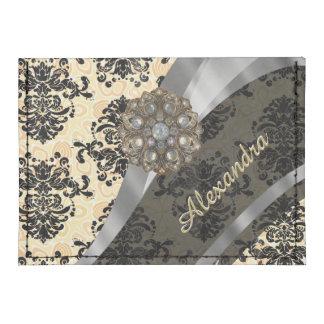 Personalized cream pretty girly damask pattern tyvek® card wallet