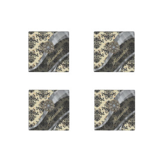 Personalized cream pretty girly damask pattern stone magnet