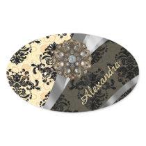 Personalized cream pretty girly damask pattern oval sticker