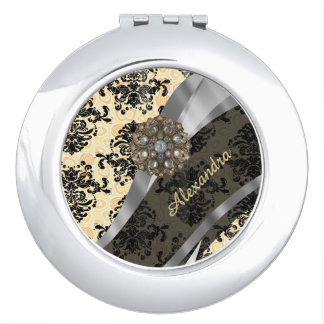 Personalized cream pretty girly damask pattern makeup mirror