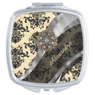 Personalized cream pretty girly damask pattern compact mirrors