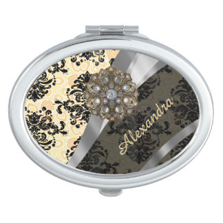 Personalized cream pretty girly damask pattern mirrors for makeup