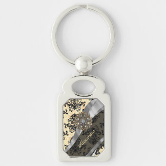 Personalized cream pretty girly damask pattern Silver-Colored rectangle keychain