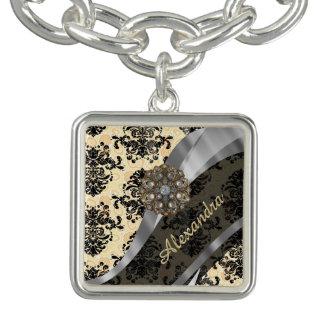 Personalized cream pretty girly damask pattern charm bracelet