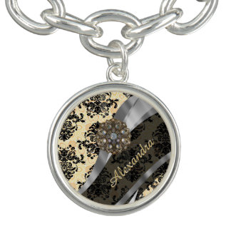 Personalized cream pretty girly damask pattern bracelet