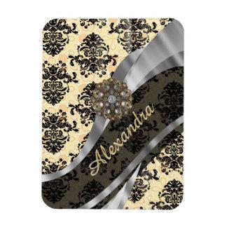Personalized cream pretty girly damask pattern rectangular photo magnet