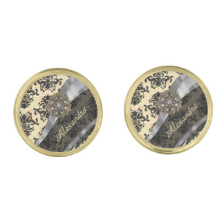 Personalized cream pretty girly damask pattern gold finish cufflinks