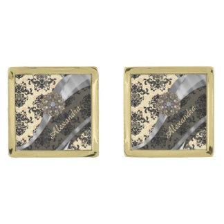 Personalized cream pretty girly damask pattern gold finish cuff links