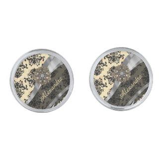 Personalized cream pretty girly damask pattern silver finish cuff links