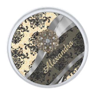Personalized cream pretty girly damask pattern silver finish lapel pin