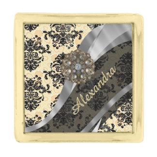 Personalized cream pretty girly damask pattern gold finish lapel pin