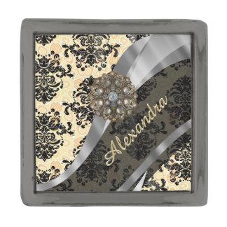 Personalized cream pretty girly damask pattern gunmetal finish lapel pin