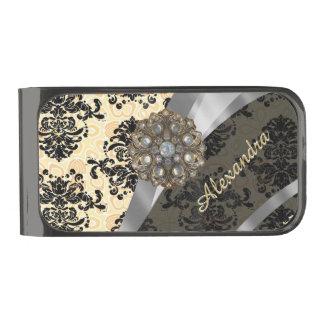 Personalized cream pretty girly damask pattern gunmetal finish money clip