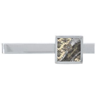 Personalized cream pretty girly damask pattern silver finish tie bar
