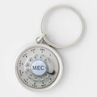 Personalized Cream Rotary Phone Dial Keychain