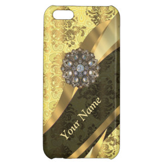 Personalized cream yellow damask pattern cover for iPhone 5C