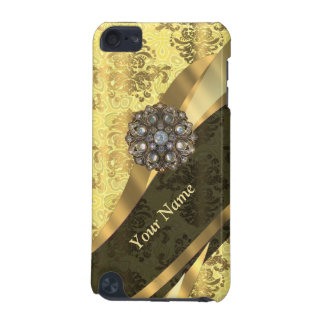 Personalized cream yellow damask pattern iPod touch 5G cover