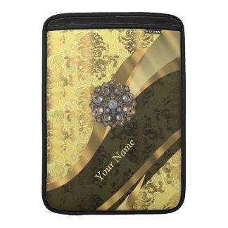 Personalized cream yellow damask pattern MacBook sleeve