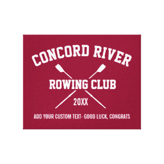 Personalized Crew Rowing Logo Oars Team Name Year Canvas Print