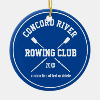 Personalized Crew Rowing Logo Oars Team Name Year Ceramic Ornament