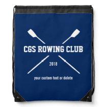 Personalized Crew Rowing Logo Oars Team Name Year Drawstring Bag