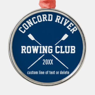 Personalized Crew Rowing Logo Oars Team Name Year Metal Ornament