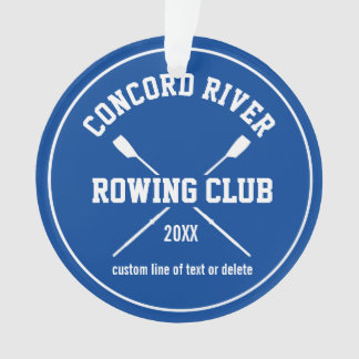 Personalized Crew Rowing Logo Oars Team Name Year Ornament