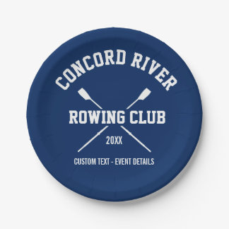 Personalized Crew Rowing Logo Oars Team Name Year Paper Plate
