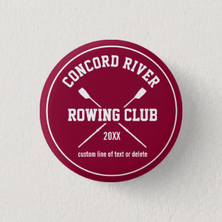 Personalized Crew Rowing Logo Oars Team Name Year Pinback Button