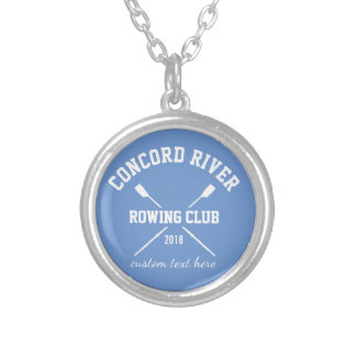 Personalized Crew Rowing Logo Oars Team Name Year Silver Plated Necklace
