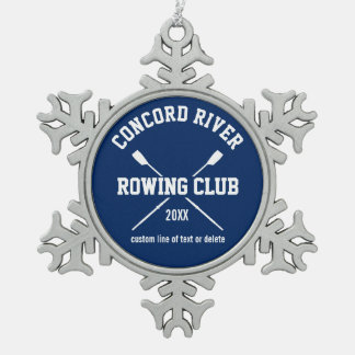 Personalized Crew Rowing Logo Oars Team Name Year Snowflake Pewter Christmas Ornament