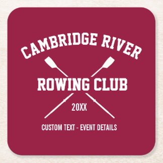 Personalized Crew Rowing Logo Oars Team Name Year Square Paper Coaster